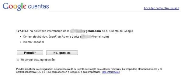 Solicitud de permisos en Cuentas de Google